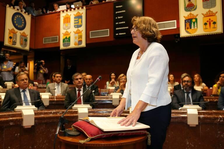 Mábel Campuzano, en junio de 2019, cuando tomó posesión como diputada de Vox. Foto: M. P.